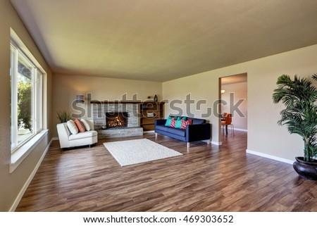 Modern Living Room Interior With Fireplace And Hardwood Floor Northwest USA