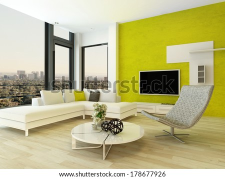 Modern living room interior with green wall - stock photo