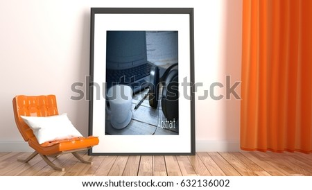 Modern Living Room Interior With Orange Sofa And Frame On Empty White Wall Background 3D