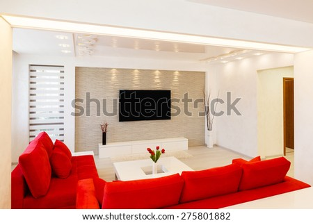 Modern living room interior with TV. - stock photo