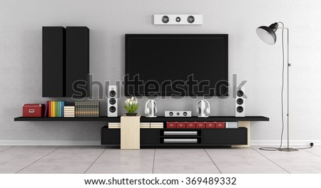 Modern Living Room Room With TV,wall Unit And Blue Armchair   3D Rendering Part 96