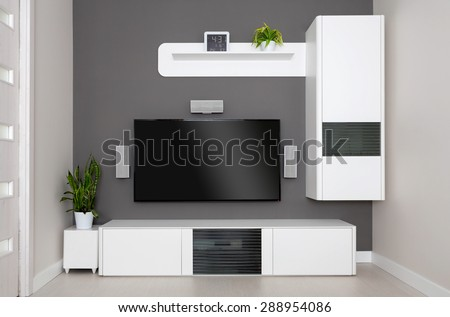 Modern living room - TV and speakers home theater. - stock photo