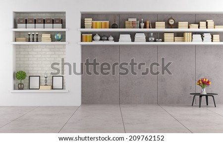 modern living room wit niche and shelves without furniture - rendering - stock photo