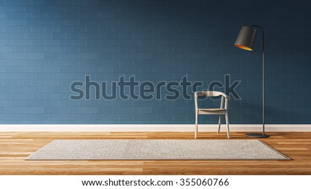 Modern  living room with blue wall / 3D render image - stock photo