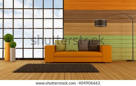 Modern living room with colorful wooden panel and big window -  3d rendering - stock photo