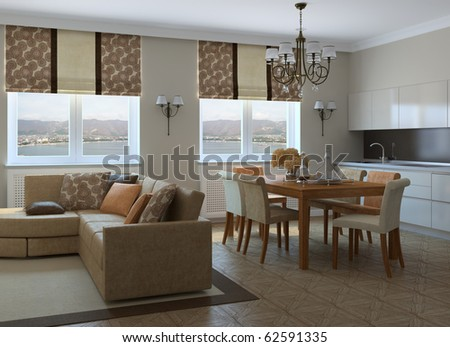 Modern living-room with dining-room and kitchen. 3d render. Photo behind the window was made by me. - stock photo