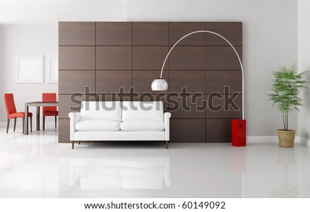 modern living room with dininig space - rendering - stock photo