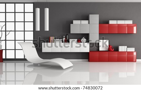 modern living room with fashion armchair and minimalist  bookcase - rendering - stock photo