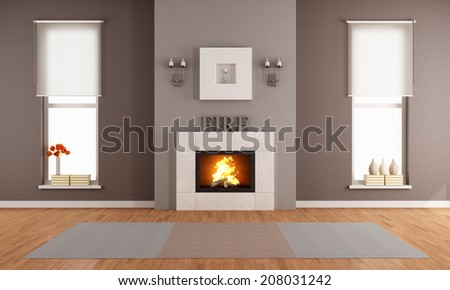 Modern living room with fireplace and two vertical windows - rendering - stock photo