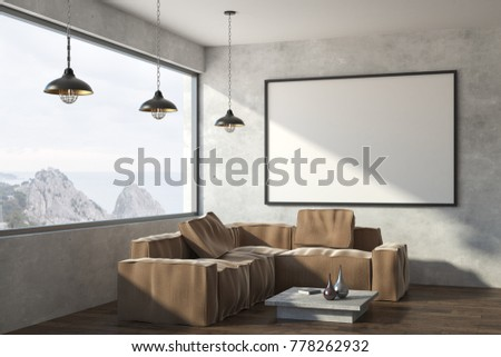 Modern Living Room With Furniture Empty Banner On Wall And Panoramic Landscape View 3D