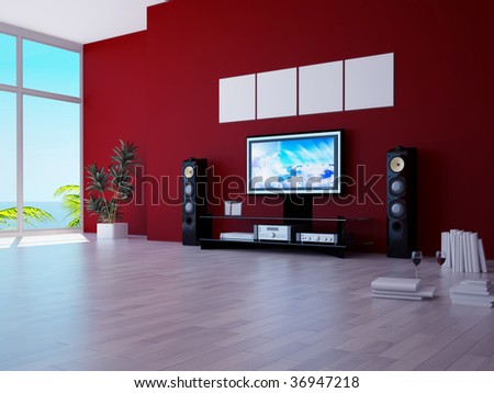 modern living room with home theatre system on red wall