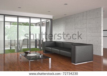 modern living room with large window and parquet floor - stock photo
