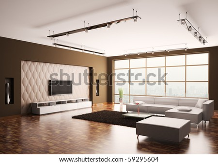 Modern Living room with lcd and white sofa interior 3d - stock photo