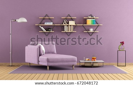 modern living room with purple chaise lounge and shelves on wall 3d rendering