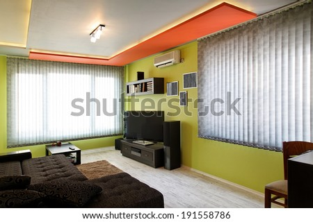 modern living room with sofa and tv - stock photo