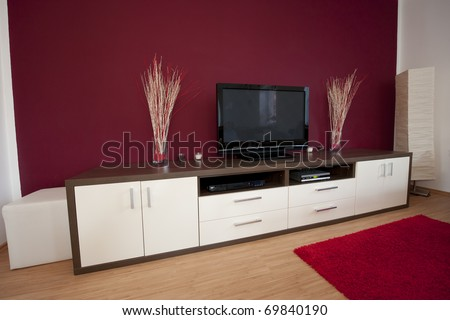 Modern living room with television. - stock photo