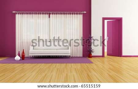 modern living room with white couch and purple wall - rendering