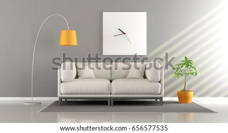 Modern Living Room White Sofa Big Stock Illustration 656577535 ...