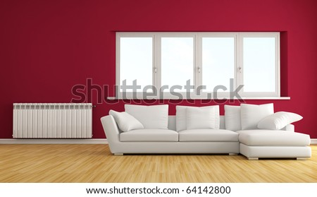 modern living room with white sofa and hot water radiator - stock photo