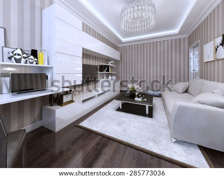 Modern living room with white sofa, wall system and a black coffee table. 3d render.