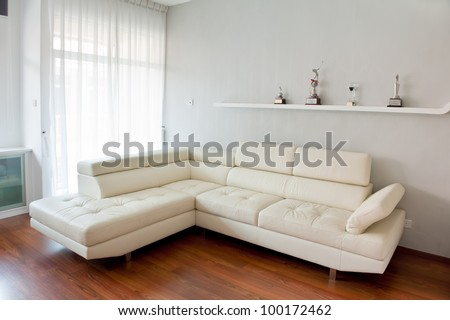Modern living room with white sofa, wooden floor and golf trophy on the rack. Photo taken with fisheye lens - stock photo