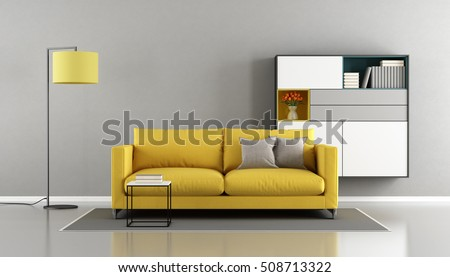 Modern Living Room Yellow Couch Sideboard Stock Illustration ...
