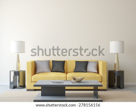 Modern living-room with yellow couch. 3d render. - stock photo