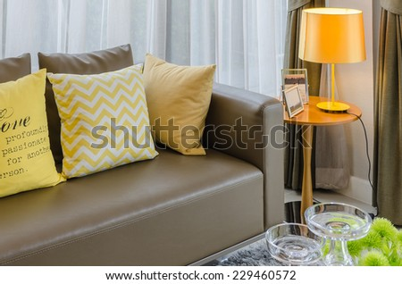 modern living room with yellow lamp - stock photo