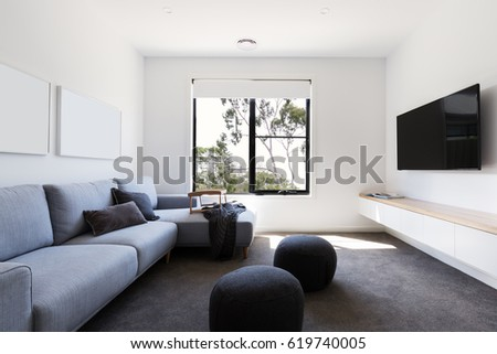 Modern Living Tv Room Contemporary Home Stock Photo (Safe to Use ...
