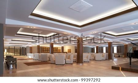 Modern lobby for hotel - stock photo