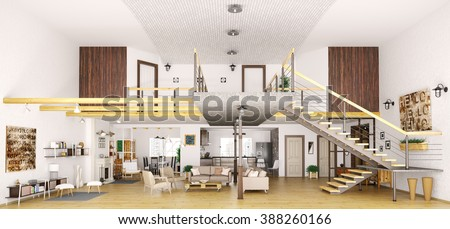 Modern loft apartment interior in cut, living room, hall, kitchen, dining room,staircase, 3d render - stock photo