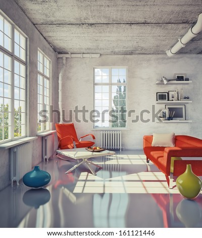 modern loft interior - stock photo