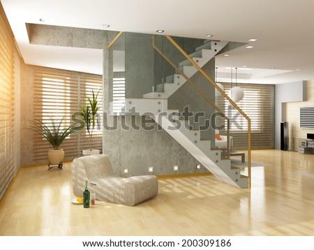 modern loft  interior  design (3d concept) - stock photo
