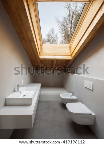 Modern loft interior, nobody inside - stock photo