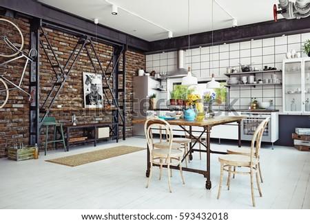 Delightful Modern Loft Kitchen Interior. 3d Rendering Concept