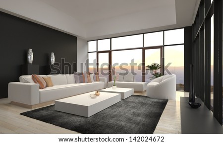Modern Loft Living Room with Sunset / Sunrise View - stock photo