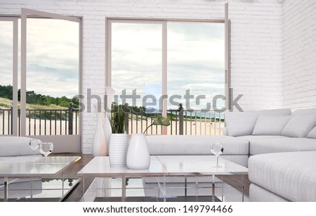 Modern Loft Living Room with white couch and seascape view