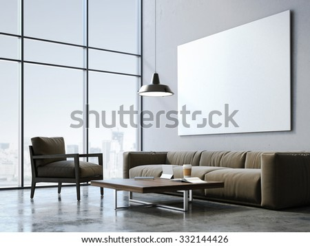 Modern loft studio with blank canvas. 3d rendering