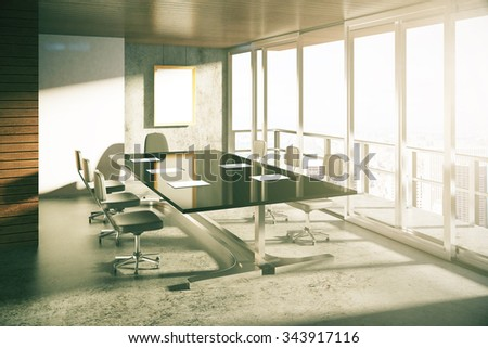 Modern loft style conference room with furniture at sunrise 3D Render - stock photo