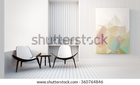 Modern & Loft The Painting in Living room / 3D render image - stock photo