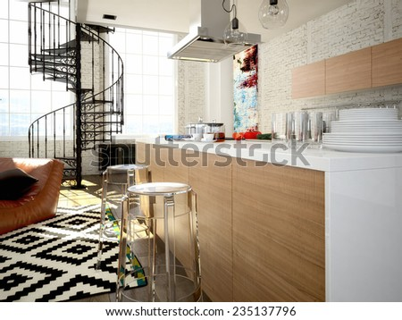 Modern loft with a kitchen and living room. 3d rendering - stock photo