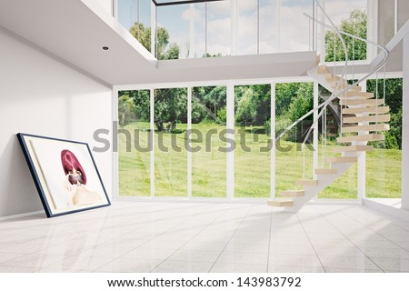 Modern loft with image and green exterior moving out - stock photo