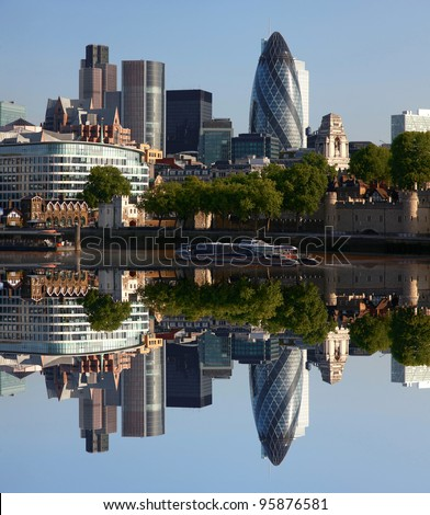Modern London cityscape with boat, LONDON, UK - stock photo
