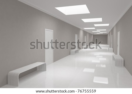Modern long corridor with offices - stock photo
