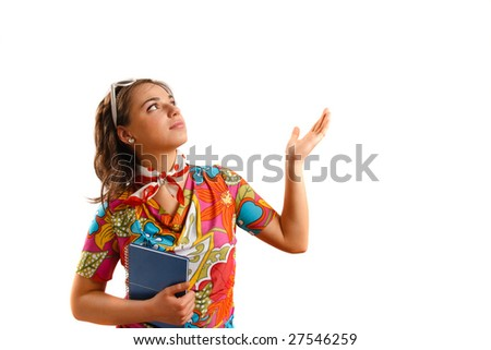 Modern looking young woman holding a notebook - stock photo
