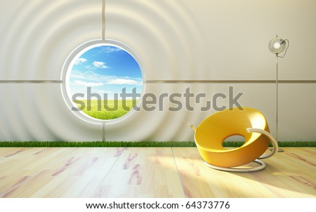modern lounge room interior, high quality 3d rendering - stock photo