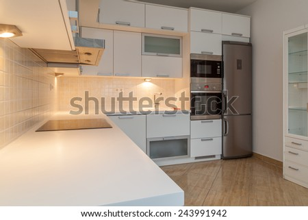 Modern luxurious kitchen with stainless steel appliances - stock photo