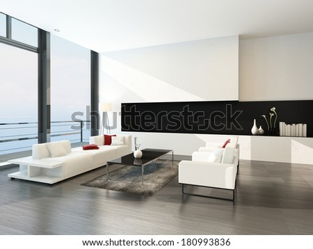 Modern luxurious living room interior - stock photo