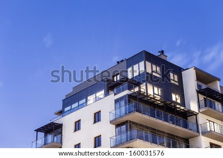 Modern, Luxury Apartment Building - stock photo