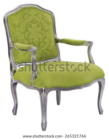 Modern luxury armchair with silver ornate and green fabric isolated on white background  - stock photo